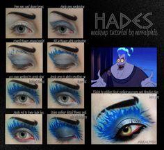 maquillaje inspirado en Hades de Hércules.