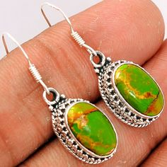 Copper Green Arizona Turquoise 925 Sterling Silver Earrings Jewelry GCTE684 - JJDesignerJewelry