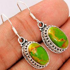 Copper Green Arizona Turquoise 925 Sterling Silver Earrings Jewelry GCTE684 - JJDesignerJewelry