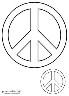 peace sign coloring page print