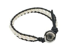 Freshwater Mini Pearl and Leather Teton Mountaineering Bracelet with Button Clasp $69.95