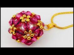 DIY   Blumen Ball Ketten Anhänger   Schmuck   Beaded bicones flower ball pendant   Beadwork - YouTube