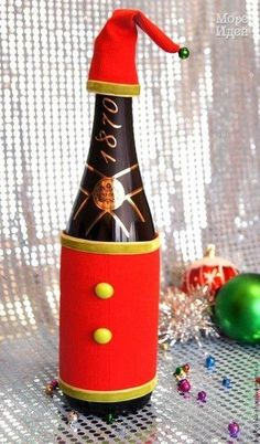 Быстро и просто - декорируем бутылку шампанского! - Новогодние поделки