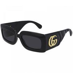 Gucci Sunglasses, Black Sunglasses, Cheap Gucci, Gucci Models, Fashion Eye Glasses, Vintage Gucci, Gucci Black, Black And Grey, Color Black
