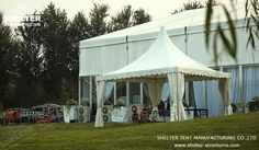 Taking no large area, this white tent presents a fantastic image with its high peak roof, and it would form a better view with a group of pinnacle tents getting together. Marquee For Sale, Shelter Tent, Gazebo Canopy, Pvc Fabric, Tent Sale, Marquee Wedding, Outdoor Events, Nice View, Outdoor Structures