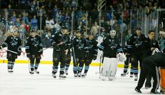 The San Jose Sharks leave the ice after being informed their last second tying goal didn't cross the red line in time (Nov. 6, 2014).
