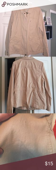 Loft jacket Worn a few times, great condition. Size XL. Tan colored zip front jacket with elastic cinching in back. 2 front hand pockets and small zip pocket at left breast. Small marking and small on left sleeve (marking may come out in wash). Jacket has some stretch to it. 97% cotton/3% spandex. LOFT Jackets & Coats