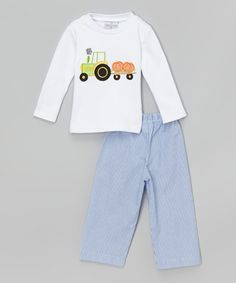 Loving this White Pumpkin Tractor Tee & Blue Pants - Infant & Boys on #zulily! #zulilyfinds