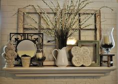 Summer Mantel...love this! Just might put a big plant decor in front of my window like this.