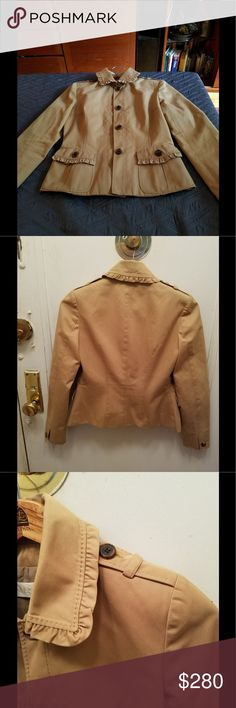 Valentino  ruffled tan  light jacket size 2 Worn only handful of times had to squeeze into it every beautiful deep tan color pict taken in natural light so they best describe the jacket 100 %cotton outside with lining 100% polyester this is fitted jacket runs small exact mesures21 inch long 14 inch sholder about 24inch sleeve my jacket given to me by the company after fashion show  retail price was about grand   when it came out no spots or marks good  condition no sign of wear just to small…