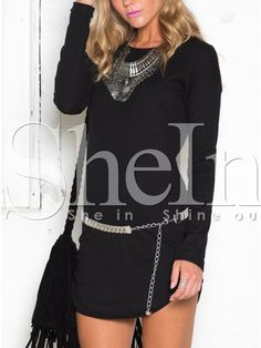 To find out about the Black Long Sleeve Round Neck Dress at SHEIN, part of our latest Dresses ready to shop online today! Sheinside, Latest Dress, Dress P, Long Sleeve, Sleeves, Sweaters, Shopping, Black, Fashion
