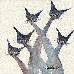 Arlington Stray Cats | Lori Alexander | http://www.straycatartbylorialexander.com/whimsical-cats