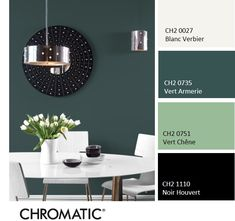 [Couleur Chromatic® Classic or modern, the Vert Armerie, inspired by nature and white, will always be a sure bet.chromaticstor … Source by White Paint Colors, White Paints, Dark Interiors, Colorful Interiors, Condo Interior Design, Moroccan Bathroom, Style Deco, Color Balance, Design Seeds