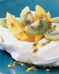 Coconut Pavlovas with Tropical Fruit The Good News The kiwis and mango that fill these airy, low-fat meringues are high in vitamin C and other antioxidants. The low-calorie passion fruit seeds add tartness and intense tropical flavor. WNBooks.com