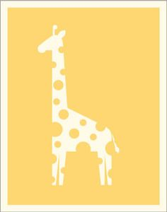"Spotted   A lovely little giraffe poster from the animal collection.    8"" x 10"" and 11"" x 14"" sizes are printed on creamy textured cardstock while 18"" x 24"" sizes are printed on smooth white poster paper.    All artwork is owned and copyrighted by Sara Harding."