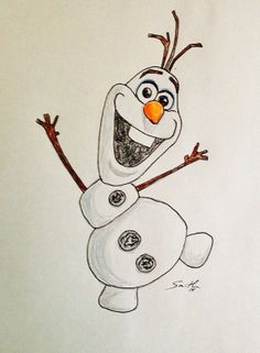 Items similar to Olaf from Frozen on Etsy Olaf from Frozen by toReaganwi. - Items similar to Olaf from Frozen on Etsy Olaf from Frozen by toReaganwithloveart on Etsy, - Disney Drawings Sketches, Easy Disney Drawings, Frozen Drawings, Cute Cartoon Drawings, Cool Art Drawings, Pencil Art Drawings, Colorful Drawings, Drawing Disney, Disney Character Drawings