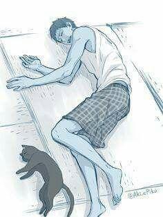 Aomine and a cat... kawaii!