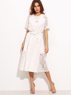 7469d5722870 White Lace Slim Dress With Belt -SheIn(Sheinside) Simple Dresses, Elegant  Midi