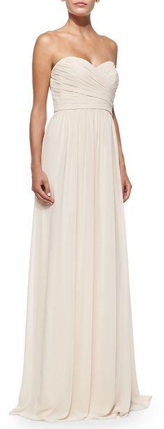 ML Monique Lhuillier Strapless Ruched-Bodice Gown, Blush