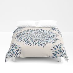 Indigo Leaves Mandala Duvet Cover