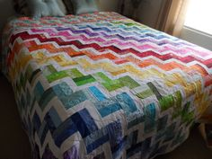 Rainbow quilt, modern, queen quilt, chevron quilt, quilted bedding, bedroom decor, handmade, gift quilt, quilted blanket by SusansPassion on Etsy