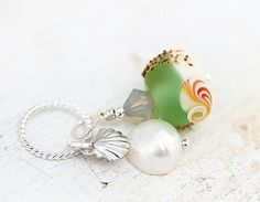 Green Seaglass Pendant - beachy handmade lampwork glass bead on sterling silver with pearl, beach jewelry by MayaHoney