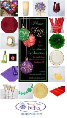 By Piece of Cake Parties.com.  Buy a complete handcrafted Christmas party-in-a-box at pocparties.com.