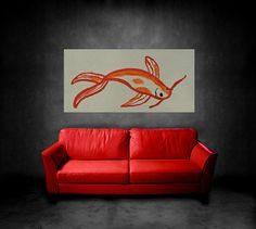 Goldfish Abstract Painting acrylic Painting on by JerryTitanArt