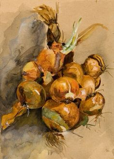 Onions Poster by Andreescu Ion Photography Tags, Still Life Photography, Art Marron, Brown Art, Art Database, Oil Painting Reproductions, Still Life Art, Portrait, Oeuvre D'art