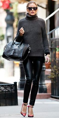 Olivia Palermo - Givenchy bag, chunky sweater & leather pants.