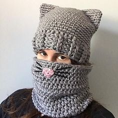 Ideas Crochet Cat Hat Pattern Ravelry For 2019 Chat Crochet, Crochet Adult Hat, Bonnet Crochet, Crochet Cat Pattern, Crochet Beanie, Knitted Hats, Crochet Patterns, Knitting Patterns, Crochet Ideas