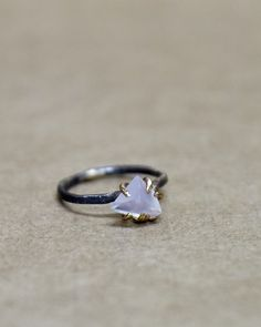 Chalcedony Triangle Small Ring Rose & Yellow Gold 5. – Bow and Arrow