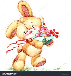 Funny Bunny. Kid Background For Holiday Greetings . Watercolor Illustration - 249948946 : Shutterstock