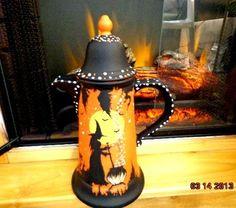 VINTAGE OOAK STONEWARE PFALZGRAFF WITCHES HALLOWEEN TEA/ COFFEE POT