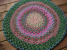 Moss Green and Coral Pink Braided Round Rug from upcycled cotton | Flickr - Photo Sharing!