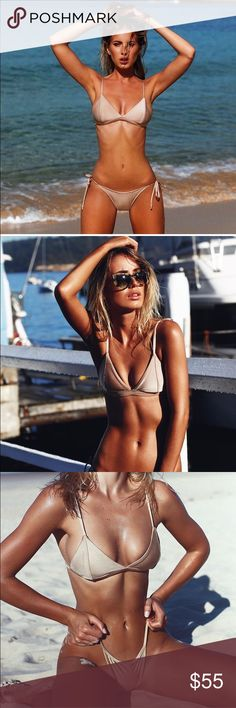 Frankie's Swimwear Cinnamon Bralette Bikini top Brand new perfect bikini top size 6 Australian = Xs US. Just a little too small for me. Gorgeous sheen gold cinnamon color and quality material. Frankie's Bikinis Swim Bikinis
