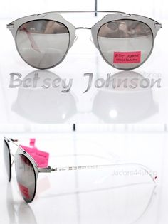 BETSEY JOHNSON METALLIC RETRO CLEAR MODERN MIRROR CHIC SILVER SUNGLASSES NEW NWT #BetseyJohnson #Aviator