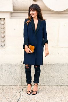 distressed jean, strappy sandal, long overcoat