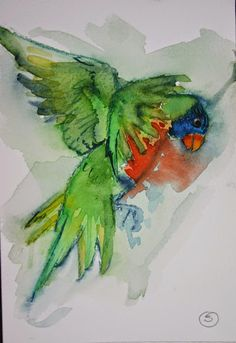 Rainbow Lorikeet. Original watercolour painting. Supplied mounted with an off-white acid-free mount. Image size: 14cm x 9cm Mounted size: 20cm x 15cm