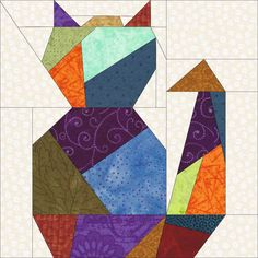 Crazy Cat 2 Paper Piece Quilt PDF Pattern by by madcreekdesigns