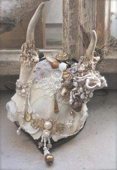 ALL THINGS UNDEAD - ornate bridal fascinator headpiece made with pearls, vintage charms & buttons, gemstones, feathers - one of a kind item