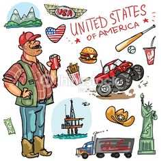 Clipart vectoriel : Travelling attractions - United States
