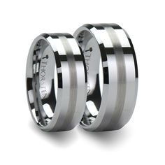 Matching Anniversary Ring Set Flat Beveled Tungsten Band with Brushed Stripe - 6mm & 8mm