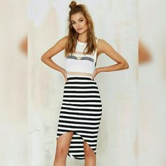 Nasty Gal // High-Low Skirt Nasty Gal // The Fifth // High-Low Skirt Black & White High waist True to size New - never worn  **looks great with a shredded tee and moto boots** Nasty Gal Skirts High Low