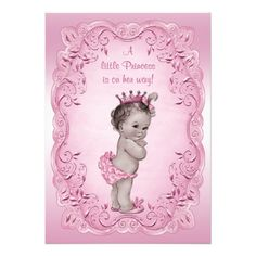 Pink Vintage Princess Baby Shower Invites! Make your own invites more personal to celebrate the arrival of a new baby. Just add your photos and words to this great design.