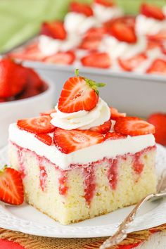 moist vanilla cake covered with sweetened condensed milk and a fresh strawberry sauce! It is then topped with cream cheese whipped cream for a delicious strawberry treat that is homemade from scratch!