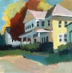 """Daily+Paintworks+-+""""House+on+the+Hill""""+-+Original+Fine+Art+for+Sale+-+©+Liz+Maynes"""