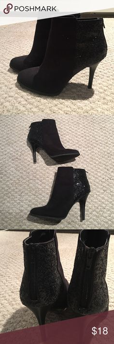Black boot pumps with rear ankle zip! Black boot pumps with rear ankle zip and black glitter accent heel! Shoes