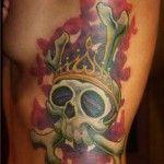 Queen B skull tattoo