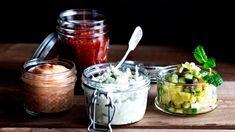 mangomajoneesi, omenatsatsiki, ananassalsa, savupaprikakastike Chili, Mason Jars, Mango, Manga, Chile, Mason Jar, Chilis, Glass Jars, Jars